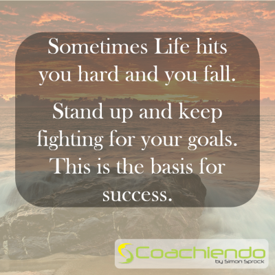 Sometimes Life hits you hard and you fall.   Stand up and keep fighting for your goals. This is the basis for success.