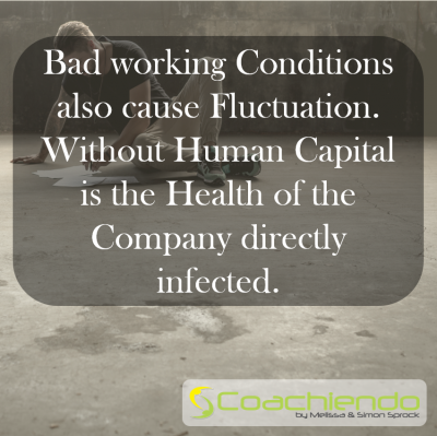 Bad working Conditions also cause Fluctuation. Without Human Capital is the Health of the Company directly infected.