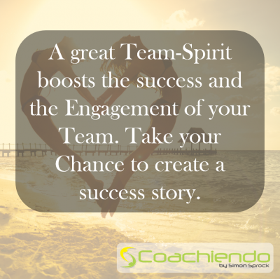 A great Team-Spirit boosts the success and the Engagement of your Team. Take your Chance to create a success story.